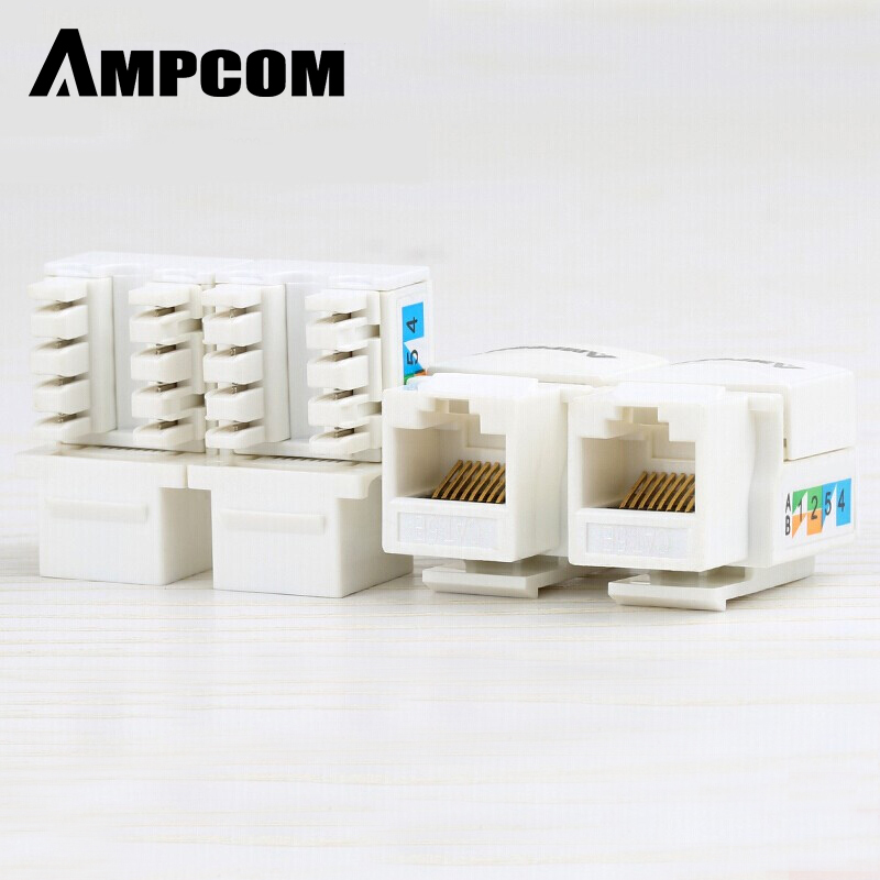 CAT6 Keystone Jack, AMPCOM Snap-in RJ45 Punch-Down Cat.6 Keystone Module Adapter 100/1000 Мбит/с | UTP | Совместимость с CAT.6/CAT.5e