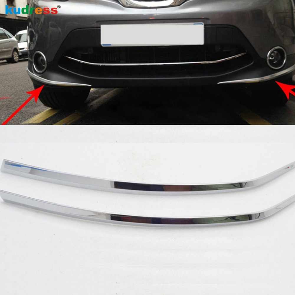 For Nissan Qashqai 2014 2015 2016 ABS Chromed Front Bumper Foglight Eyelid Chafing Strip Cover Trim Auto Parts Accessories 2pcs front bumper foglight decoration strip 2 pcs