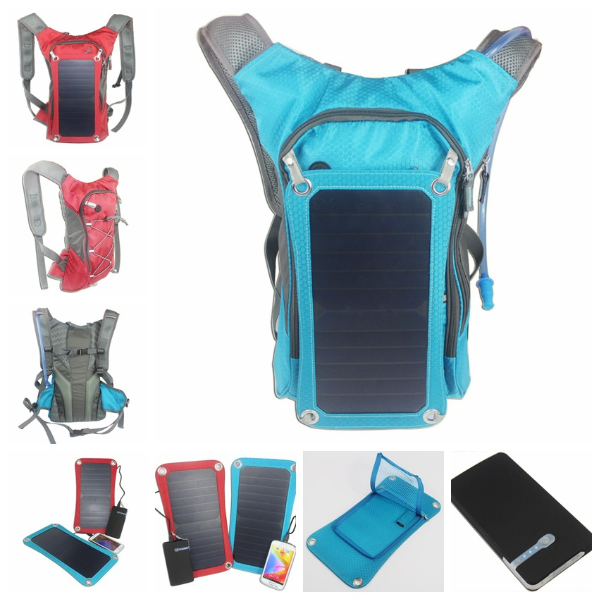 New Sport Cycling Water Bag Outdoor Solar Panel USB Charger Bicycle Hydration Backpack for Moible Phone