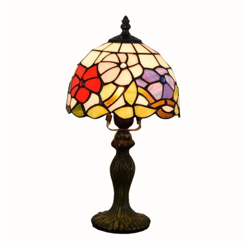 20CM E27 Vitral Abajur Quarto Lâmpada de Cabeceira Moda Criativa Retro Candeeiros De Mesa para sala de estar