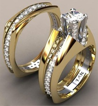 Trendy Wedding Bands Rings for Women Men Love Gift Gold Color Inner CZ Promise Couple Jewelry