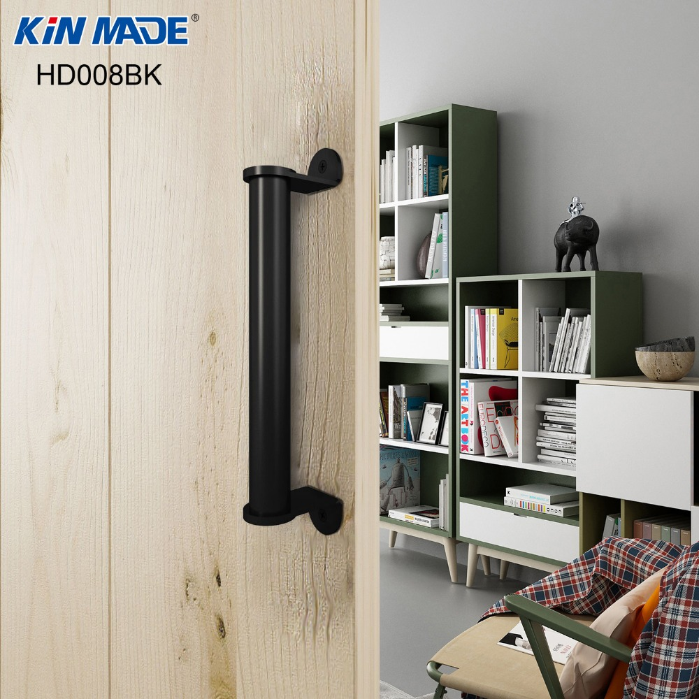 Kin Made Side Mount Flat Black Pull Handle For Sliding Barn Door