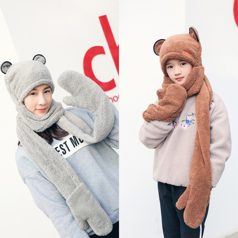 Winter Double Layer Thickened Boys And Girls Hats Scarves Gloves Three Pieces In One Winter Accessories For Women Winter Set