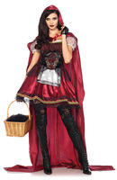 Lady Halloween Lengthened Cloak Little Red Riding Hood Costume Lace Gothic Carnival Christmas Cosplay Stage Show Fancy Dress