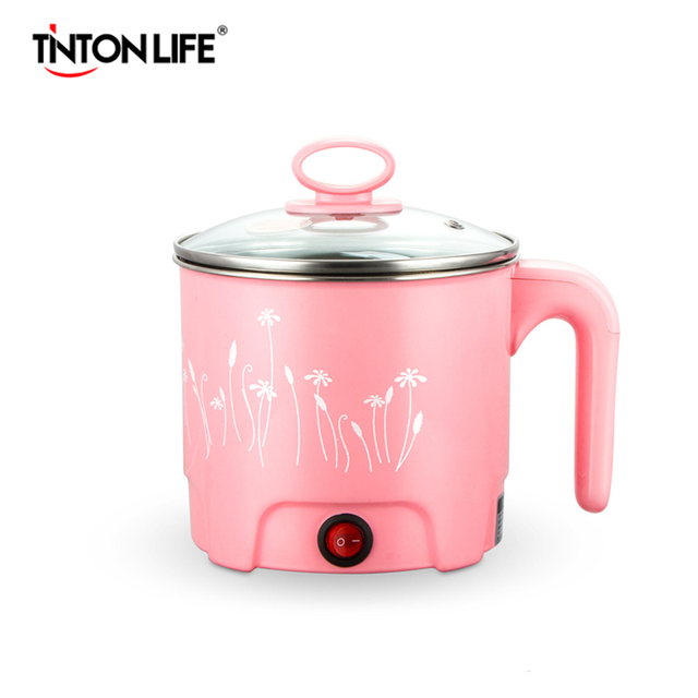 TINTON LIFE Multifunction Electric Skillet Stainless Steel Hot Pot Noodles Rice Cooker Steamed Egg Soup Pot MINI Heating Pan Rice Cookers