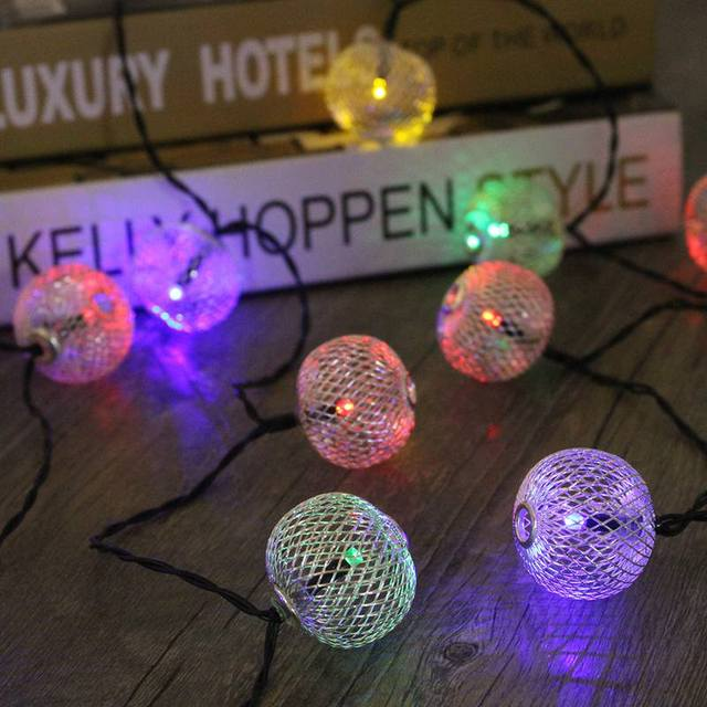 Solar Power Iron Wire Ball 20 LED String Light Curtain Lamp Waterproof Christmas Party Fairy Light Outdoor Garden Decor
