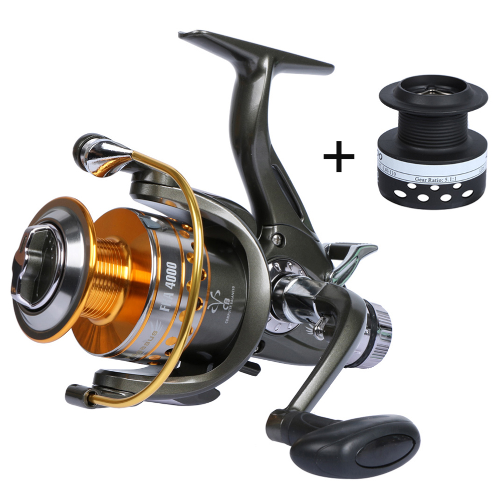Yolo FRA Series Dual Brake Feeder Fishing Reel Spinning Fishing Wheel 10BB 5.1:1 with Extra Spool Fishing Tackle Equipment