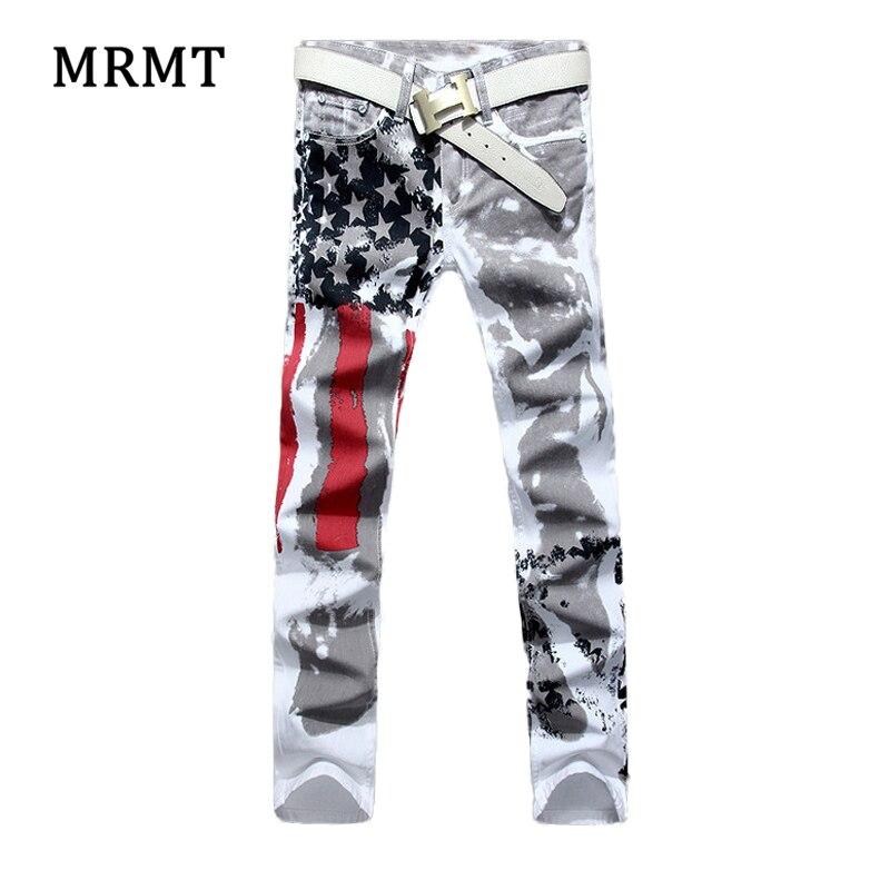 2018 Человек Американский флаг печать джинсы Высокие эластичные тонкие повседневные пентаграмма красный в полоску размер брюки ...