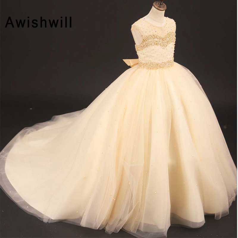 Ball Gown   Flower     Girl     Dresses   For Weddings Vestidos Daminha 2019 Kids Evening Pageant Gowns First Communion   Dresses   Champagne
