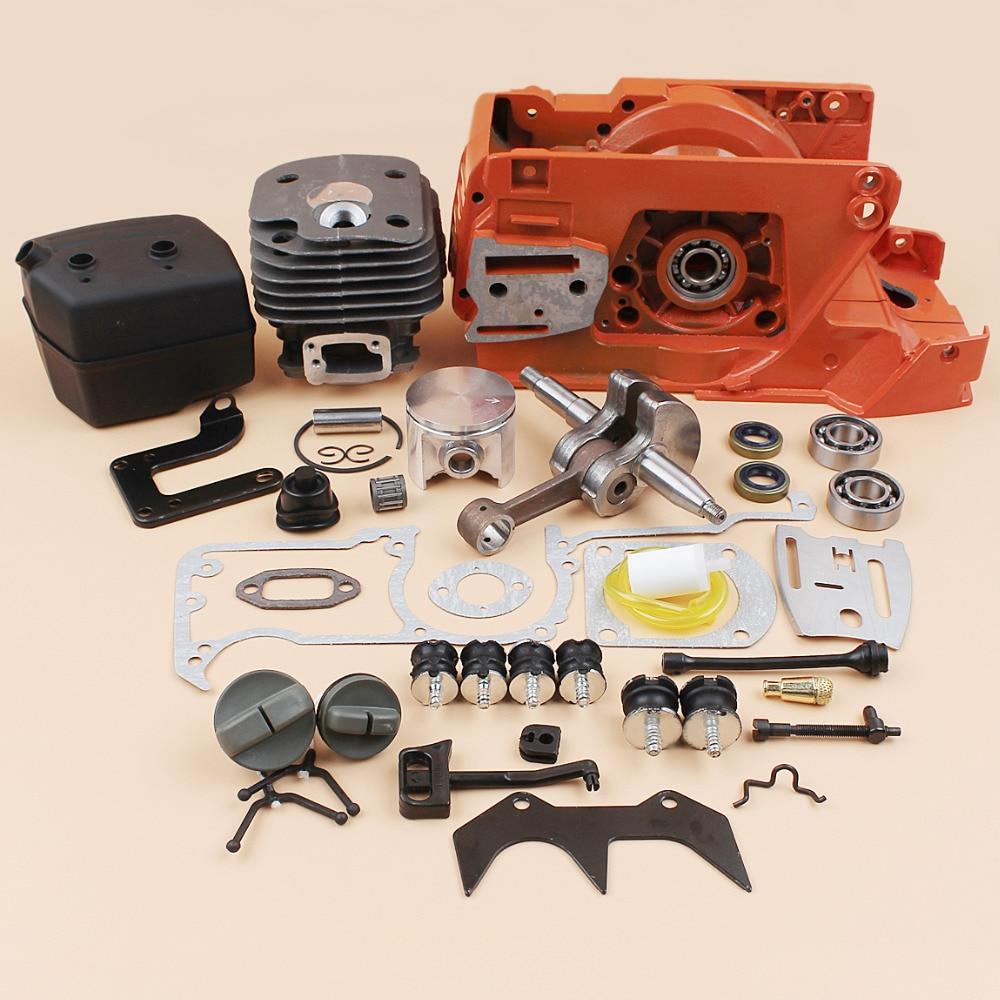 Crankcase Cylinder Piston Muffler Engine Motor Rebuild Kit for HUSQVARNA 61 268 272 272XP (50MM) Gas Chainsaw Spares Replacement crankcase crank case engine motor housing gasket for husqvarna 61 268 272 272xp chainsaw parts