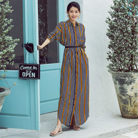 VERRAGEE 2018 NEW autumn summer striped casual geometric full sleeve square collar floor length vintage long dress