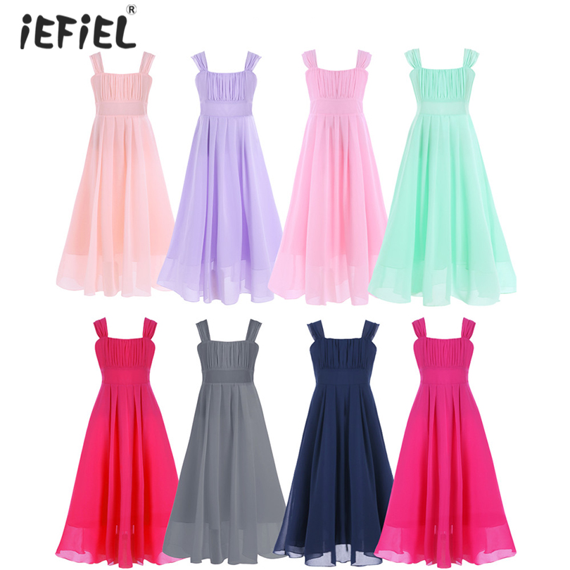 iEFiEL Kids Girls Flower Lace Dress for Party and Wedding Bridesmaid Floral Girls Dress Ball Gown Prom Formal Maxi Dresses 4-14Y Платье