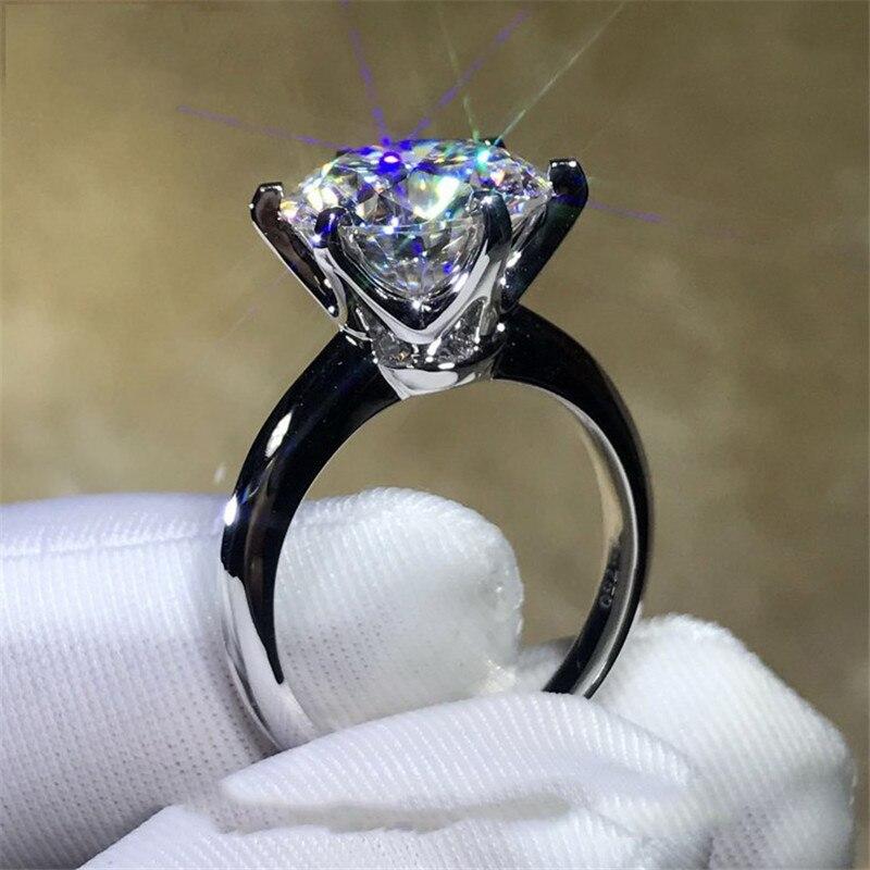 2018 bague Solitaire 100% Soild 925 bijoux en argent Sterling 1.5ct Sona AAAAA Zircon Cz bagues de fiançailles de mariage pour les femmes