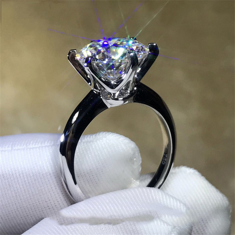 2018 Solitaire ring 100% Soild 925 Sterling silver Jewelry 1.5ct Sona AAAAA Zircon Cz En ...
