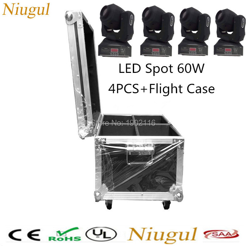 4pcs/lot With a Flight Case High brightness 60W LED Spot Moving Head Light/60W LED gobo dj disco lighting/60W LED Patterns Light 4pcs lot 30w led gobo moving head light led spot light ktv disco dj lighting dmx512 stage effect lights 30w led patterns lamp