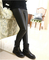 Children S Garment Girl Spring Autumn New Pattern All Match Classic Black Leather Rendering Long Pants