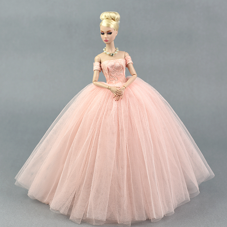 Dress + Veil / Pink Lace Party Dress Evening Gown Bubble skirt Clothing Outfit Accessories For 1/6 BJD Xinyi FR ST Barbie Doll high quality 1x wedding party dress lace gown evening party princess skirt 1x veil clothes for barbie doll accessories kid toy