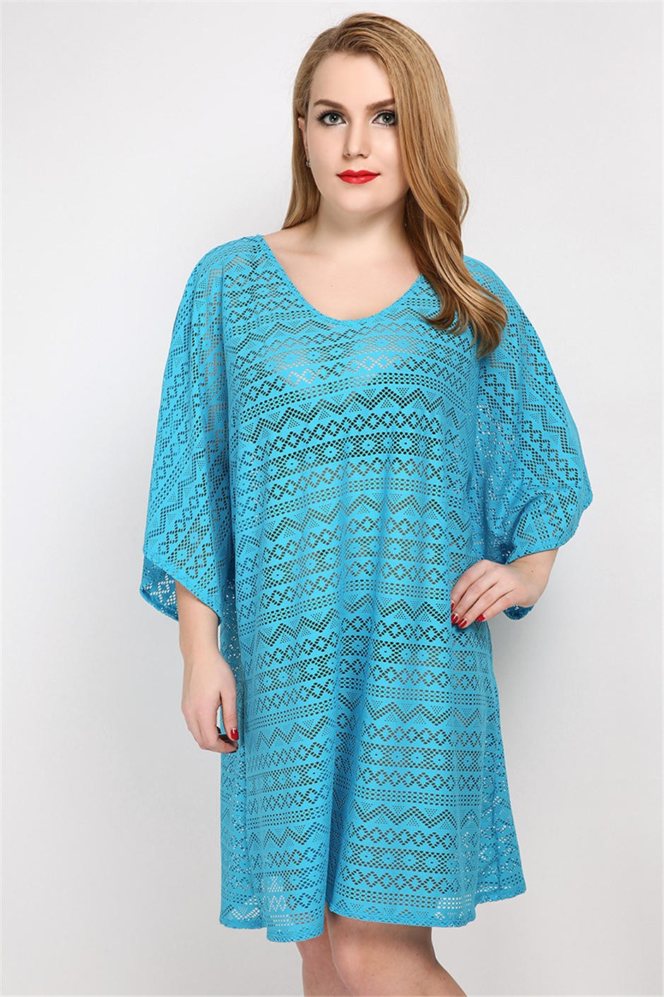 17 Solid Women Cover up Crochet Loose Bathing suit One piece Swimsuit Female Sexy Beach blouse Hollow out knitting Cover-ups 5
