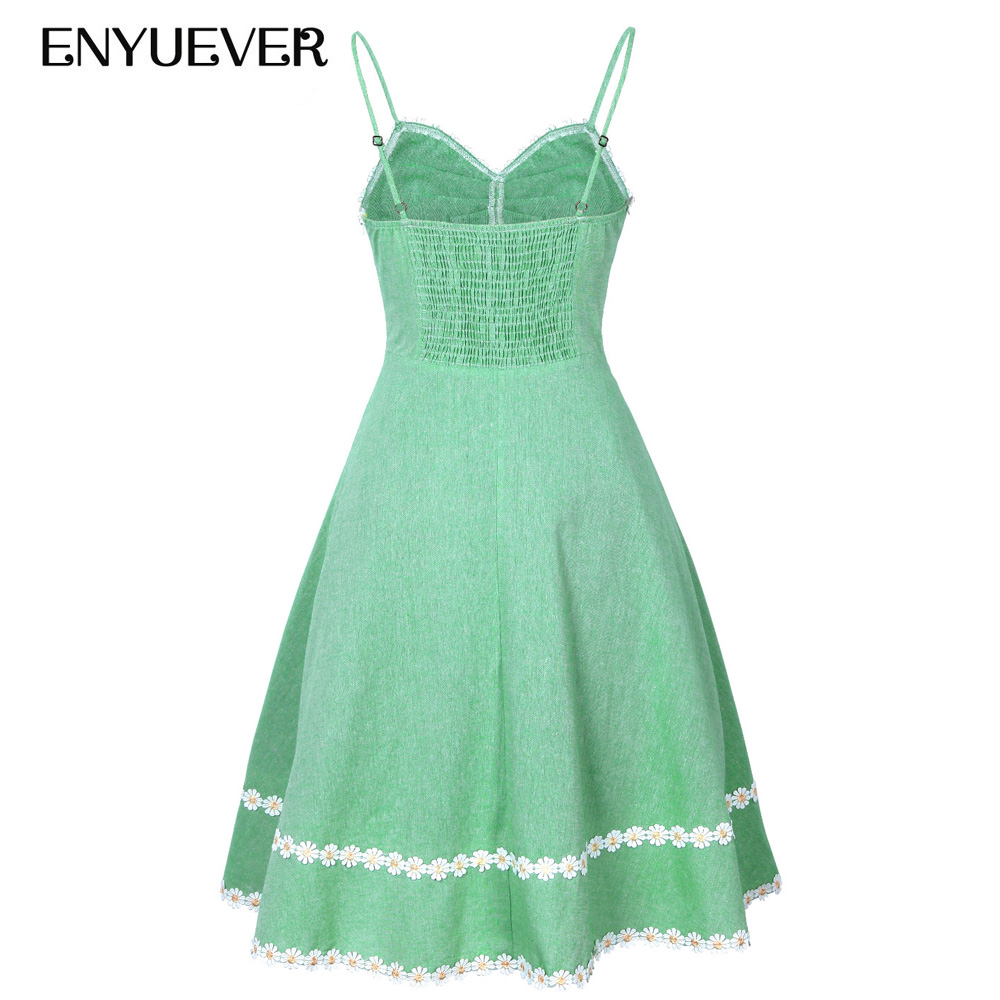 Enyuever Green Vintage Dress 50s Spaghetti Strap Appliques Party ...