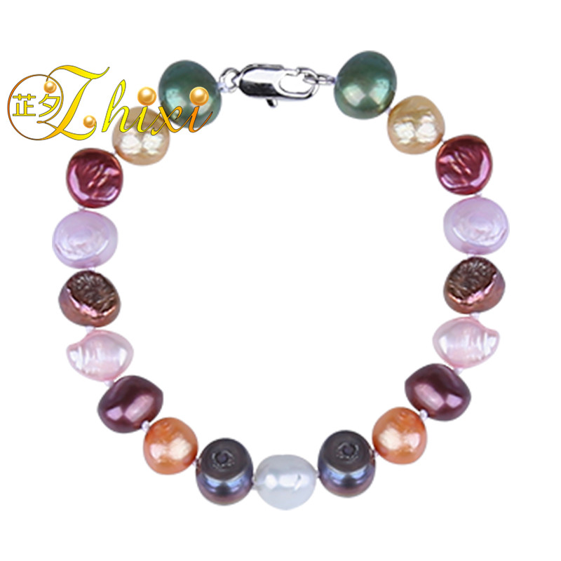 ZHIXI Baroque Pearl Bracelets Pearl Jewelry Natural Stone Strand bracelets For Women Mix Color Fine Birthday Gift 18cmTS206
