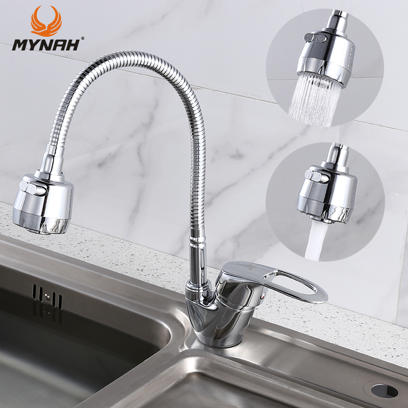 MYNAH Russia free shipping Kitchen Faucet mixer crane Any Any Direction Kitchen Faucet Kitchen Sink Tap