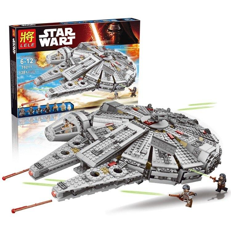 Lele 79211 Star Wars 1381pcs Millennium Falcon building block Bb 8 rey minifigures Kids boy Toys