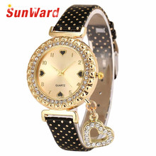 Sunward Relogio Feminino Love Heart Bracelet Leather Diamond Quartz Wrist Fashion Women's Ladies Watches Horloge 17May5