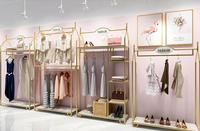 Europe type gold dress shop rack rack high grade clothes rack shoes bag double layer clothing display rack