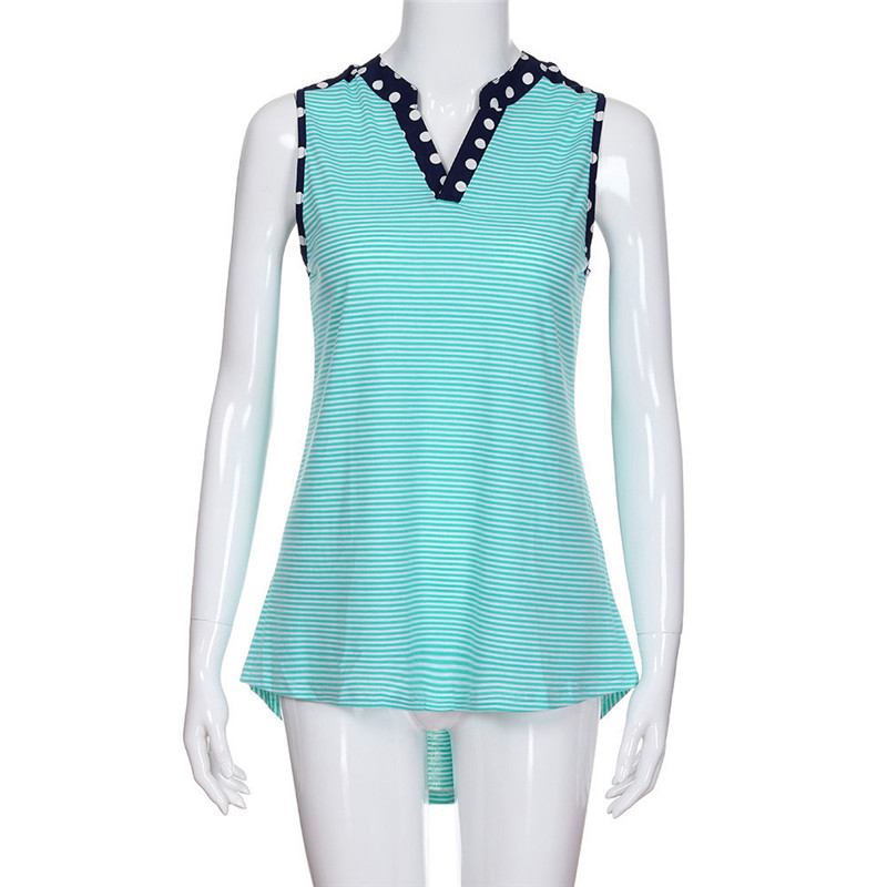 2018 JAYCOSIN Summe Casual r Women Sleeveless sexy Striped high waist V-Neck Vest Clothes T Shirt