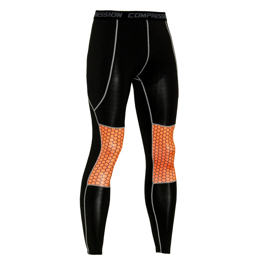 Men's Digital Print Patchwork Quick Dry Gym Training Tight Pants Running Football Sport Fitness Exercise Leggings Dropshipping