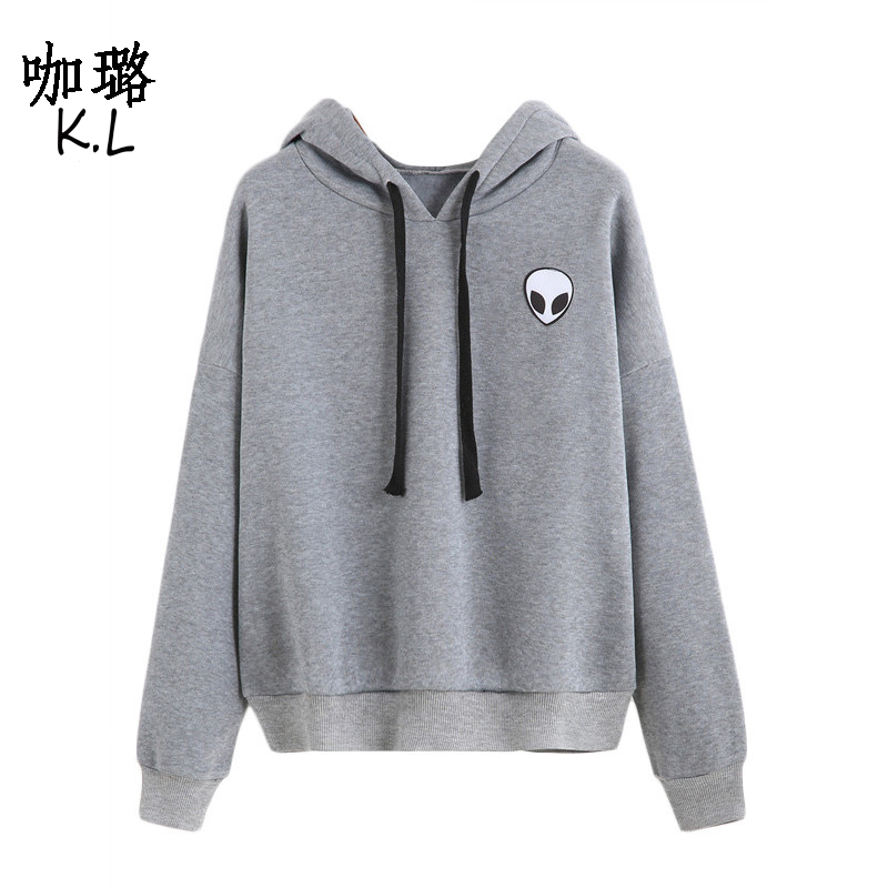 2017 Winter Autumn Women Pullover Sweatshirt Alien UFO Printed Tumblr Harajuku Thicken Warm Female Hoodies Clothes