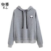 2017 Winter Autumn Women Pullover Sweatshirt Alien UFO Printed Tumblr Harajuku Thicken Warm Female Hoodies Clothes