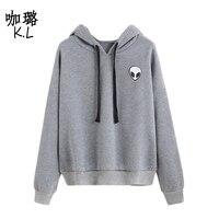 Free Shipping 2017 Summer Style Women Sweatshirt Alien UFO Printed Tumblr Harajuku Thicken Warm Style Female