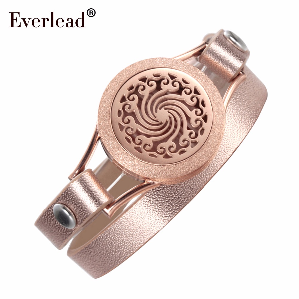 EVERLEAD Love your body double leather Bracelets for Women Rose Gold color Aromatherapy Jewelry perfume diffuser locket bracelet