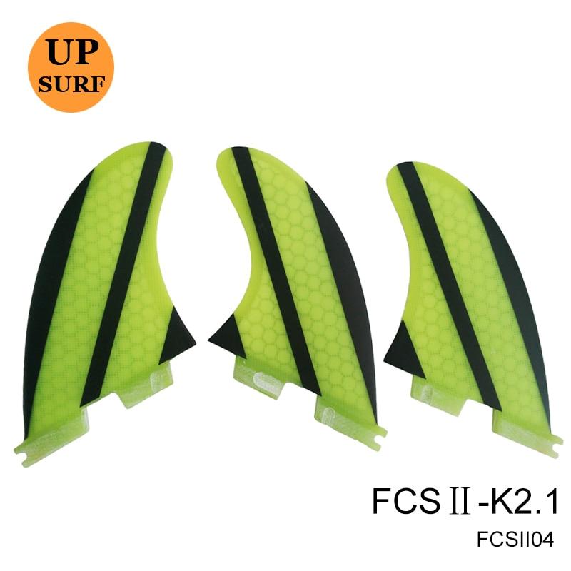 FCS II Fin K2.1 Yellow/Orange/Blue/Purpel Fiberglass Fins Surfboard Quihas in Surfing FCS 2 Fin