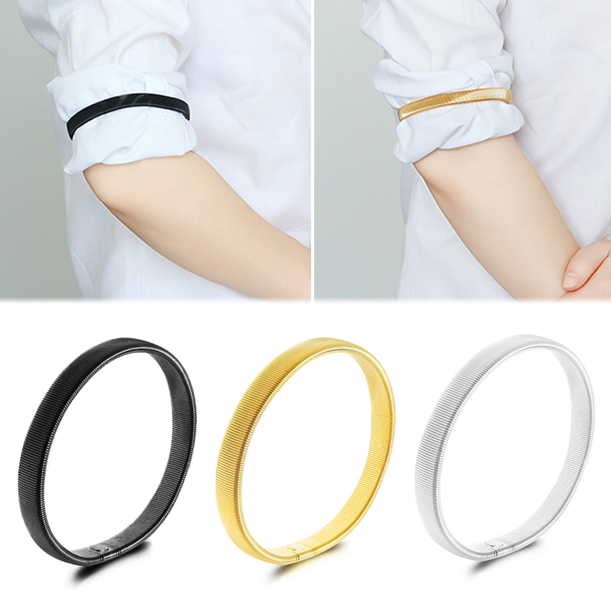 2 Pcs Non-slip Metal Armband Stretch Garter Shirt Sleeve Holder Unisex Sleeve Holders Armbands Elastic Armband Accessories Cheapest Price From Our Site Men's Arm Warmers Men's Accessories