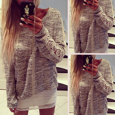 2016 Women Casual Long Sleeve Crochet Knit Lace Shirts Pullover Jumper Loose Casual Blouse Hot Sale Tops