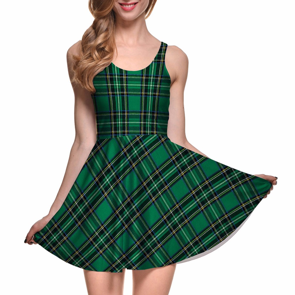 New S To 4xL England Style Plaid Print Women Green Skater Dress Sleeveless Red Pink Plaid Sleeveless Dresses Plus Size