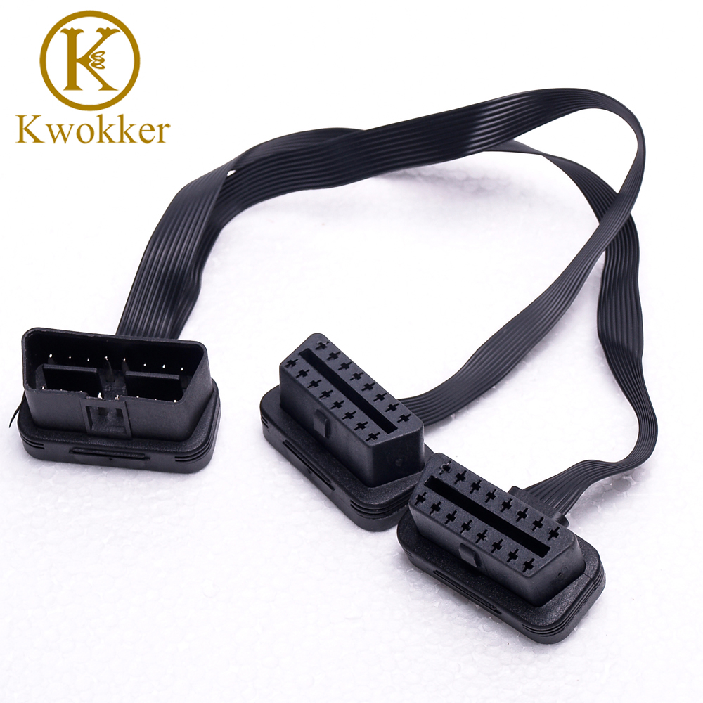 KWOKKKER Flat+Thin As Noodle OBDII OBD 2 OBD2 16 Pin ELM327 Male To Dual Female Y Splitter Elbow Extension Connector Cable