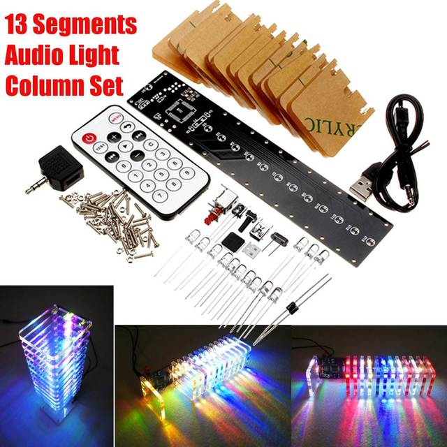 US $33 83 |LEORY LED Music Spectrum Analyzer 13 PCS Crystal Board RC Audio  Spectrum DAC USB 3D LED Light Cube Kit For Music MP3 Amplifier-in DAC from