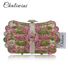 hot deal buy luxury crystal evening bag women's flower wreath diamond party purse pochette purse lady chain handbags wedding bag day clutches
