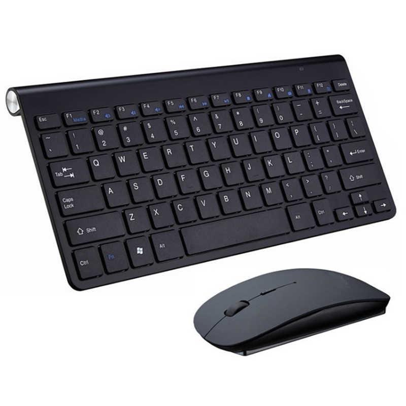 Portable Mini Wireless Keyboard 2.4GHz Komputer Multimedia Keyboard Mouse Set Combo untuk Laptop Desktop MAC PC Notebook Smart TV