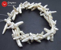Qingmos 30*50mm White Cross Shape Natural Freshwater Pearl Loose Beads for Jewelry Making Necklace Bracelet DIY 14'' los754
