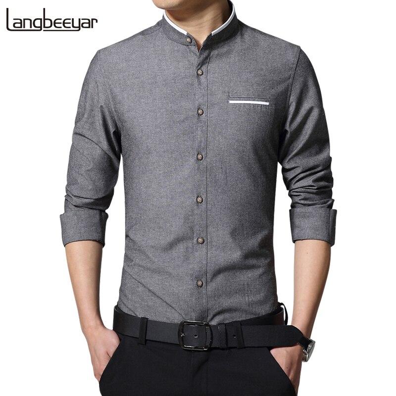 Новая мода Повседневное Для мужчин рубашка с длинным рукавом воротник-стойка рубашка узкого кроя Для мужчин корейский Бизнес мужская одежда Рубашки для мальчиков Для мужчин одежда M-5XL