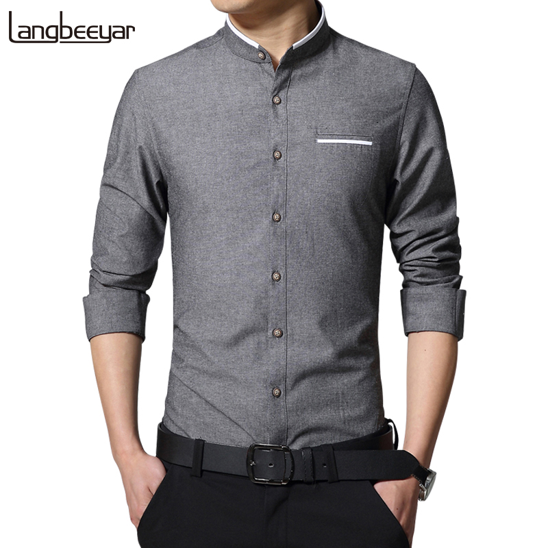 New fashion casual men shirt long sleeve mandarin collar for Slim fit mens shirts casual