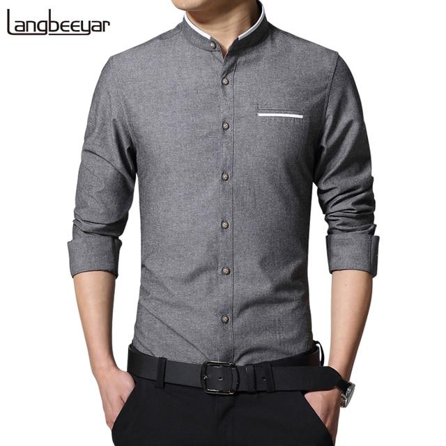 New Fashion Casual Men Shirt Long Sleeve Mandarin Collar Slim Fit ...