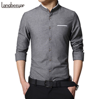 2016 New Fashion Casual Men Shirt Long Sleeve Stand Color Slim Fit Shirt Men Korean Business