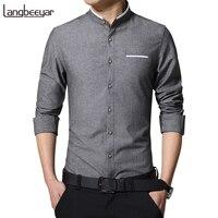 2016 New Fashion Casual Men Shirt Long Sleeve Stand Color Slim Fit Shirt Men Korean Business