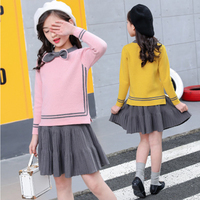 2PCS Baby Girls Sweater Tops + Skirts Kids Clothes Autumn Winter Elegant Girls Long sleeve Bow Sweater Princess Two piece 4 9T