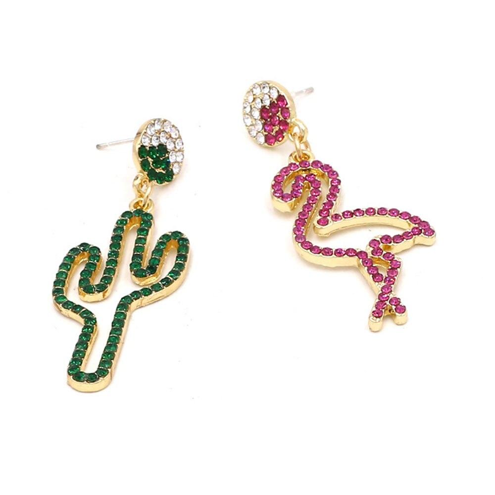 Flamingo Cactus Women Dangle Earrings Rhinestone Drop Earring Asymmetry Green Rose Statement Fashion Korean Jewelry 2019 MA023 in Drop Earrings from Jewelry Accessories